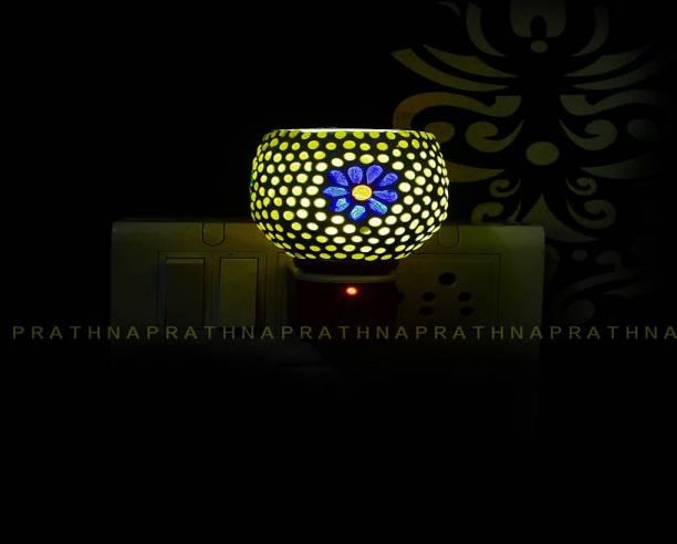 Prathna Electric Kapoor Dani Stand Kapur Incense Burner/Beautiful Smart Ceramic Kapoor Dani/Aroma Oil Burner Cum Night Lamp with Switch Design Steel Incense Holder