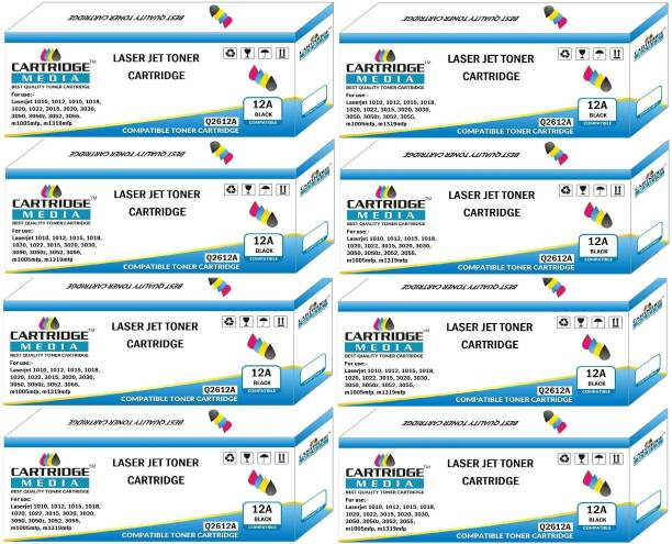 CARTRIDGE MEDIA 12A COMPATIBLE FOR Q2612A PACK OF 8 TONER CARTRIDGE FOR HP Laserjet -1010, 1010w, 1012, 1015, 1018, 1020, 1022, 1022n, 1022nw, M1005 MFP, M1319f MFP, 3015, 3020, 3030, 3050, 3050z, 3052, 3055 (Pack of 8) Black Ink Toner