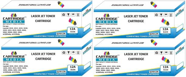 CARTRIDGE MEDIA Premium Quality and Genuine Products 12A COMPATIBLE FOR Q2612A Pack of 4 TONER CARTRIDGE FOR HP Laserjet -1010, 1010w, 1012, 1015, 1018, 1020, 1022, 1022n, 1022nw, M1005 MFP, M1319f MFP, 3015, 3020, 3030, 3050, 3050z, 3052, 3055 (Pack of 4) Black Ink Toner