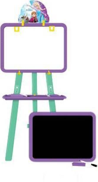 Om Enterprise 5 in 1 Dual Sided Frozen Easel Board for Educational Activities For Kids (Multi functional White & Black board)