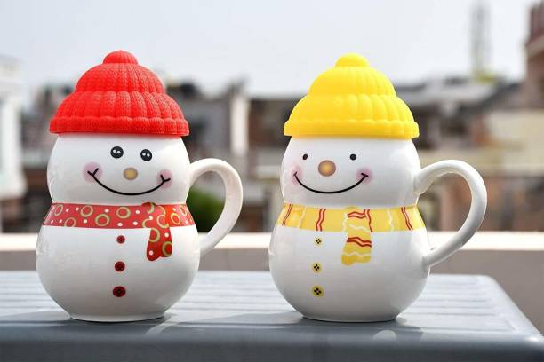 Upscale Ceramic Snowman Cup/Mug with Silicon Lid - 2 Pieces Ceramic Coffee Mug