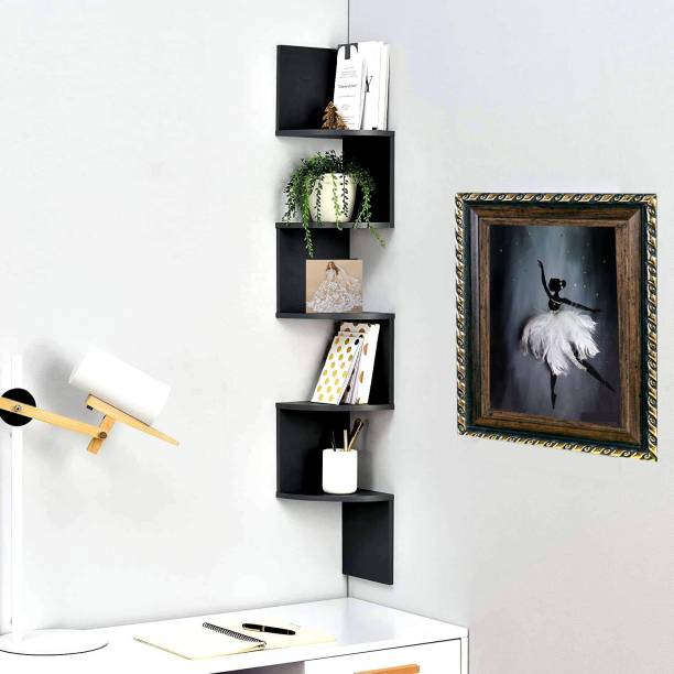 Furniture Cafe Zigzag Corner Wall Mount Shelf Unit/Racks and Shelves/Wall Shelf/Book Shelf/Wall Decoration MDF (Medium Density Fiber) Wall Shelf