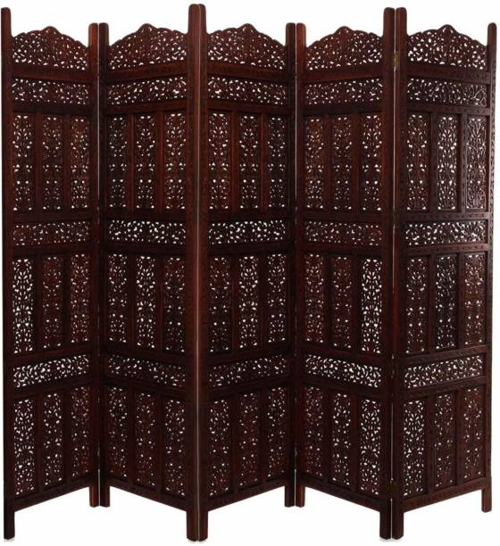 Decorhand Handcrafted 5 Panel Wooden Room Partition & Room Divider (Brown) Solid Wood Decorative Screen Partition