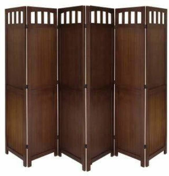 Decorhand Handcrafted 6 Panel Wooden Room Partition & Room Divider (Brown) Solid Wood Plain Screen Partition