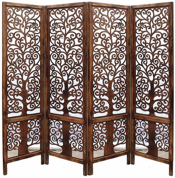Artesia Handcrafted 4 Panel Wooden Room Partition & Room Divider (Brown) Solid Wood Decorative Screen Partition