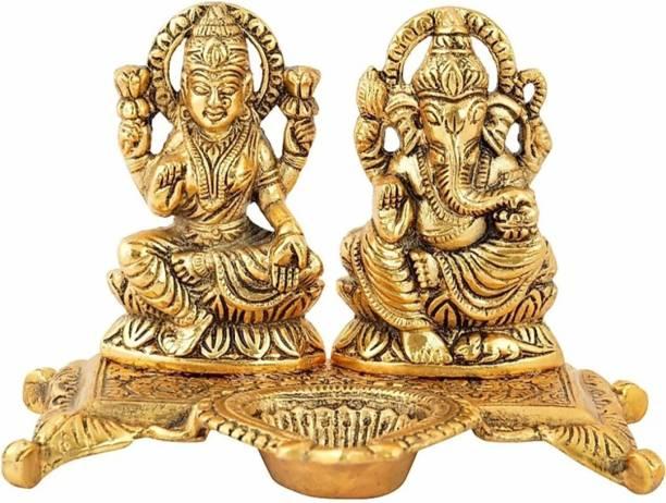 SBBCO Brass Statue/Murti/Figure Diya Lord Lakshmi Ganesha Set Size Gold Plated Decorative Showpiece  -  10 cm