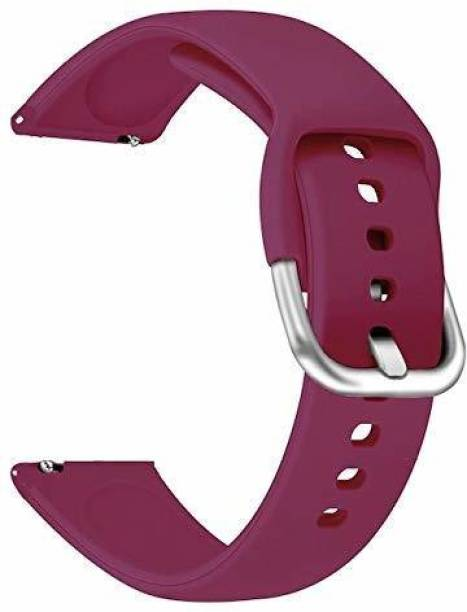gettechgo Soft Silicone 20mm Strap Band with Metal Buckle Compatible with Samsung Galaxy Watch 3 41mm, Galaxy 42mm, Galaxy Active 40mm, Active 2 (40-44mm) / AmazeFit BIP/BIP Lite/AmazeFit GTS, Amazefit GTR (42mm) / VivoActive 3 / RealMe Classic, Fashion & Smartwatches with 20mm Lugs (WIne Red) Smart Watch Strap