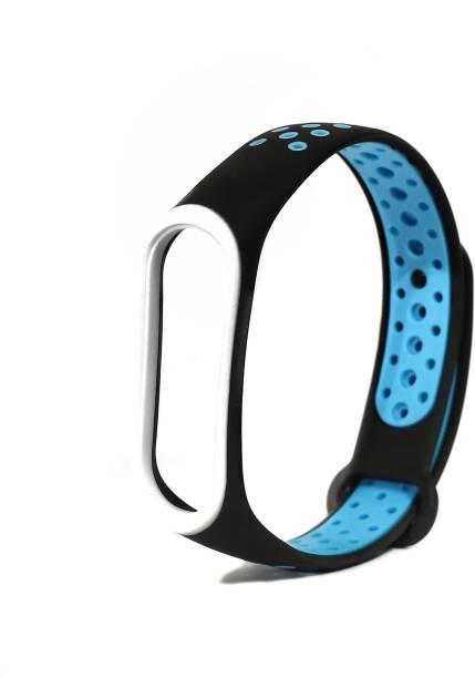 Jape Silicone Adjustable Xiaomi Mi 3/ Mi 4 Band Watch Strap Bracelet (Not Compatible with Mi Band 1/2,) Black-Blue Smart Band Strap