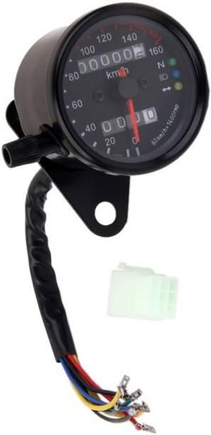JBRIDERZ Motorcycle Dual Odometer Speedometer Gauge LED Background Light Analog Speedometer