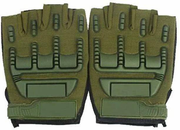 zaysoo Gloves Military Rubber Hard Knuckle Gloves Fingerless GREEN Cycling Gloves