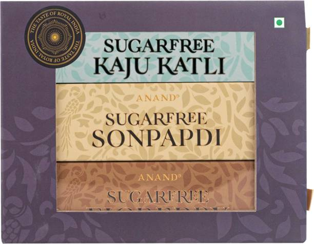 Anand Ghee Soan Papdi, Pure Kaju Katli and Nutty Anjeet Burfi Sugar Free Mithai Combo Box Box