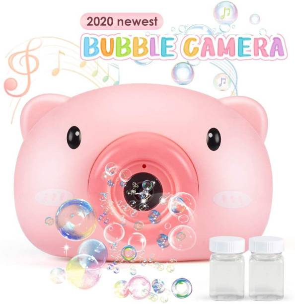 Jugutoz Bubble Machine Toys for Kids Toddlers, Non-Toxic Camera Bubble Blower with Music Sounds for Boys Girls Plus 2 Bubble Solution Bubble Toys for Parties, Wedding, Outdoor Indoor Games Toy Bubble Maker