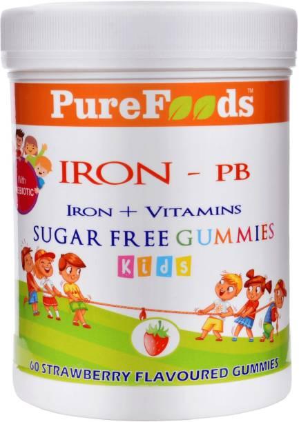 PureFoods IRON-PB Iron + Vitamins Sugar Free Gummies For Kids with Prebiotics