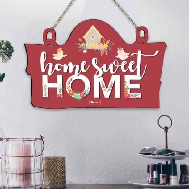 Indigifts Home Sweet Home Printed Wooden Wall Hanging 8x12.5 Inches - Home Entrance Sign Board, Home Decor Items