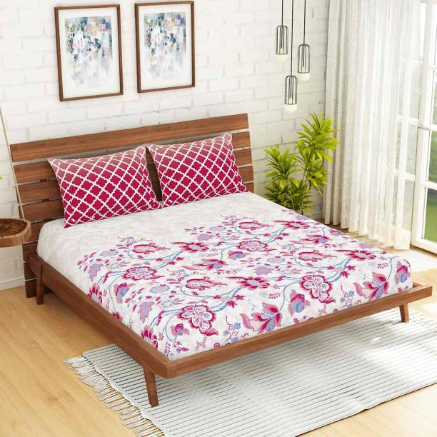 SPACES 144 TC Cotton Double Floral Bedsheet