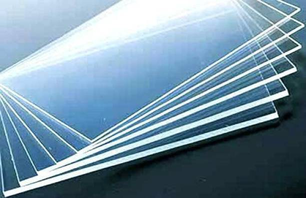 "woodcraft Acrylic Sheet Board Glass Transparent Clear Plexiglass Size: 12""x12"" 3mm Thickness Pack of 2 pcs for Glass Painting, Craft and DIY Project 12 inch Acrylic Sheet"