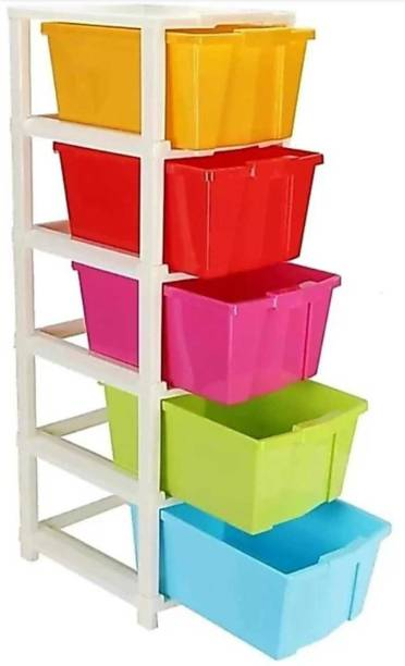 Flipkart Perfect Homes Studio Plastic Free Standing Chest of 5 Drawers (Finish Color - Multicolor) Plastic Free Standing Chest of Drawers