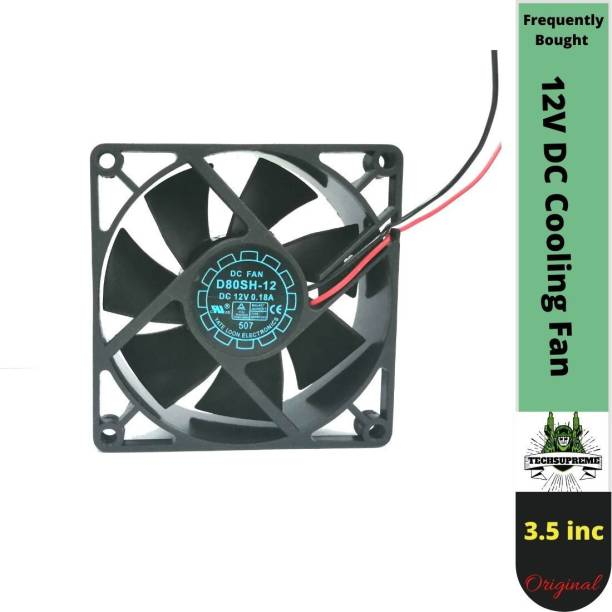 TechSupreme DC 12V Cooling Fan for PC Case 80X80X25MM Cabinet Fan 3.5-Inch Cooler