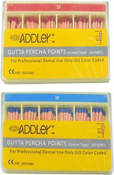 ADDLER DENTAL GUTTA PERCHA POINTS 6% (2X60 Sticks Each) SIZES:- 25, 30. TOTAL 2 PKTS