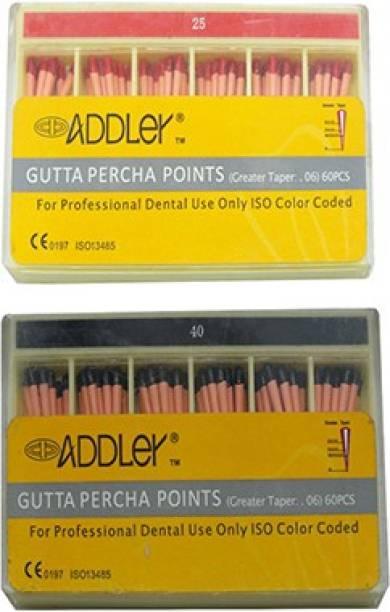 ADDLER DENTAL GUTTA PERCHA POINTS 6% (2X60 Sticks Each) SIZES:- 25, 40. TOTAL 2 PKTS