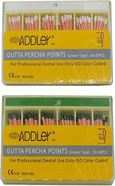 ADDLER DENTAL GUTTA PERCHA POINTS 6% (2X60 Sticks Each) SIZES:- 15, 35. TOTAL 2 PKTS