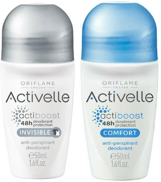 Oriflame Sweden Activelle Comfort & Invisible Anti-Perspirant 48h deodorant protection Roll On, Set of 2 (50 ml each) Deodorant Roll-on  -  For Men & Women