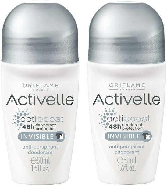 Oriflame Sweden Activelle Invisible Anti-Perspirant 48h deodorant protection Roll On, Set of 2 (50 ml each) Deodorant Roll-on  -  For Men & Women