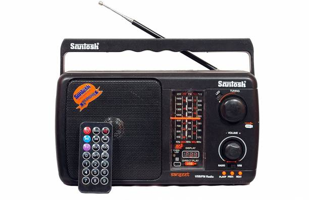Santosh Five Band Portable FM Radio with USB Support with Remote Control (Models May Vary) FM Radio