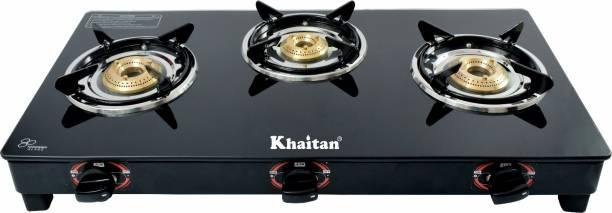 Khaitan 3 Burner Active Black Glass Manual Gas Stove