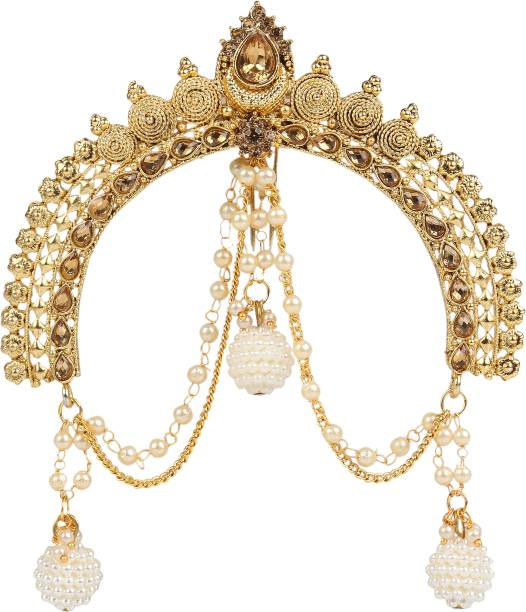 I Jewels Gold Plated Traditional Maharastrian Jewellery Aambada Juda / Pin Hair Brooch for Women Hair Pin