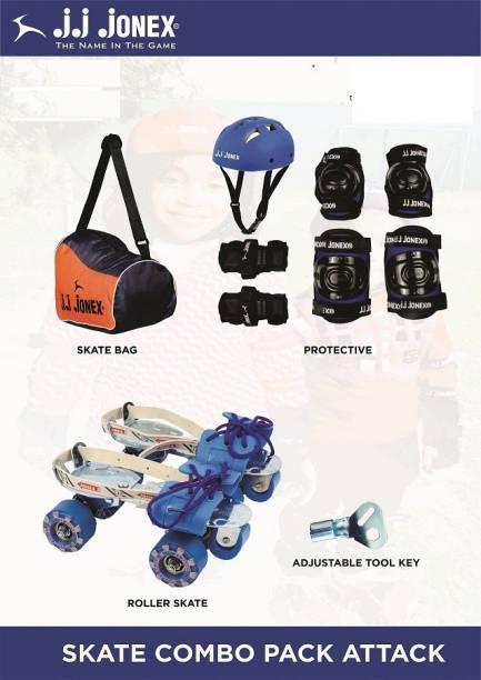 JJ Jonex Combo of Attack roller skates with set of 4 in 1 protective kit and bag @ Kin Store Skating Kit