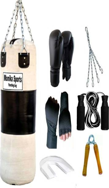 Monika Sports Senior Boxing Combo 3 feet unfilled Punching Bag With Hanging Chain + Pair of Boxing handwrap + Pair of Boxing Gloves + 1 Bearing Skipping Rope + 1 Wooden Handgrip + 1 Mouth Guard Boxing Kit