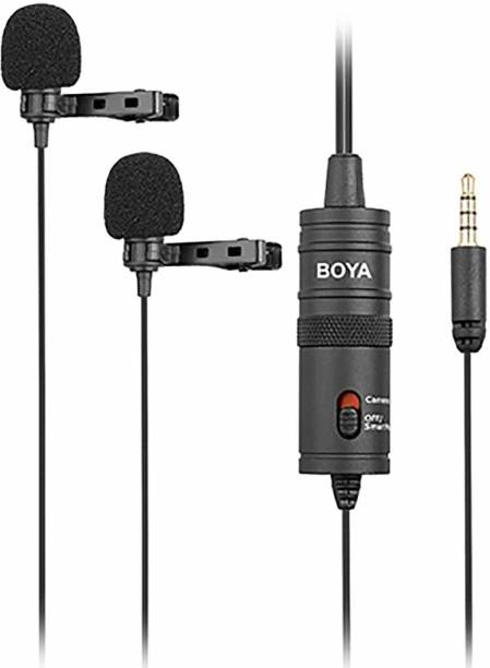 BOYA By-M1DM Dual omni-directional Lavalier Microphone with furry Windscreen Microphone