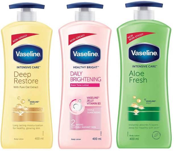 Vaseline Intensive Care DEEP RESTORE, ALOE FRESH & HEALTHY BRIGHT DAILY BRIGHTENING