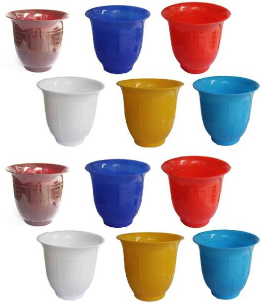 Every Inch 12 Pcs Multicolour Decorative Plant Contrainers [Diameter 7 Inches, Height 5.5 Inches] Plant Container Set