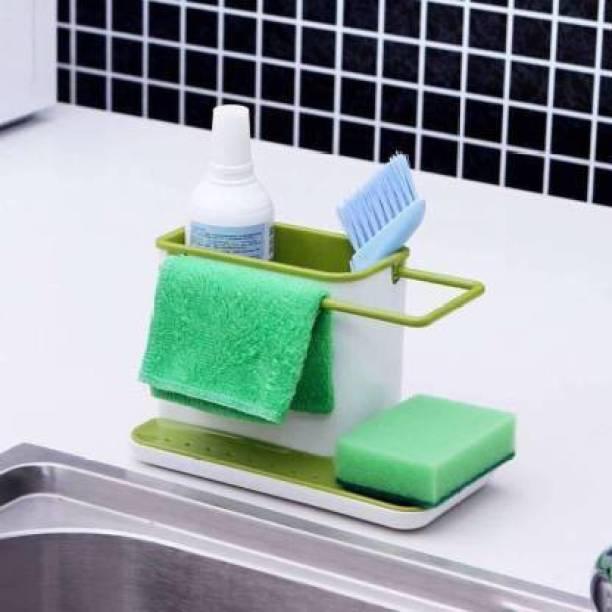 MOOZICO 3 In 1 Stand For Kitchen Sink Sponge Holder Kitchen Sink Organizer For Dishwasher Liquid, Brush, Cloth, Soap, Sponge 3 In 1 Stand For Kitchen Sink Sponge Holder Kitchen Sink Organizer For Dishwasher Liquid, Brush, Cloth, Soap