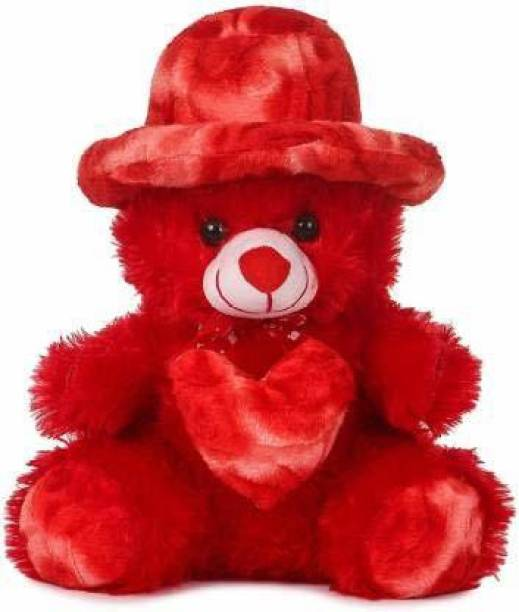 NKL Stuffed Cap Teddy Very Beautiful Huggable Valentine and Birthday Gifts Lovable Special Gift (red)  - 32 cm