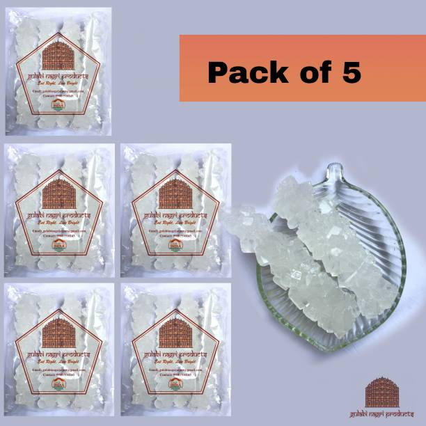 GULABI NAGRI Crystal White Dhaga Mishri Sugar(Thread crystal) 500gm(Pack of 5-100gm Each) Sugar
