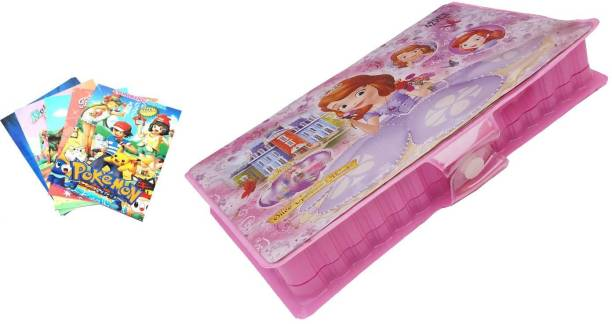 Engineer's box 42 pcs color Set with Cartoon Character Drawing Book With Name Stickers .(Blue and pink)