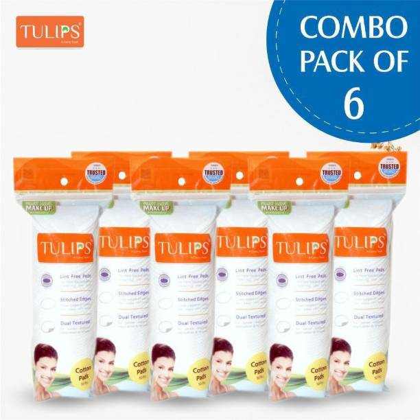 Tulips 50 Round Facial Cotton Pads in a Ziplock BagMade from 100% Pure Cotton, Best for Applying & Removing Makeup, Cleaning Skin