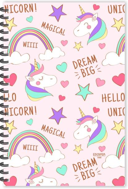 ESCAPER Magical Unicorn Doodle Diary (Ruled - A5 Size - 8.5 x 5.5 inches), Unicorn Doodle Diary, Zodiac Doodle Diary, Horoscope Doodle Diary A5 Diary Ruled 160 Pages