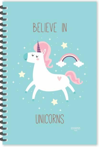 ESCAPER Believe in Unicorns (Ruled - A5 Size - 8.5 x 5.5 inches) Designer Unicorn Diary, Horoscope Diary, Zodiac Diary, Unicorn Secret Diary A5 Diary Ruled 160 Pages