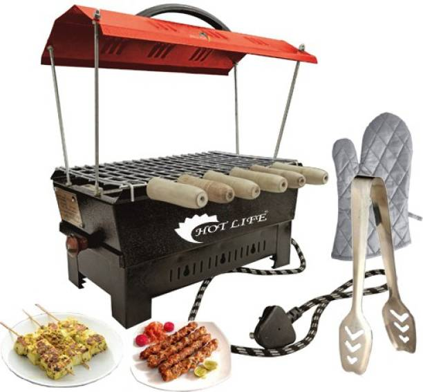 HOT LIFE Red Hut Shape Barbeque Portable 1000W Electric & Charcoal Barbeque grill & Tandoor Indoor & Outdoor Garden Grill Barbeque Electric Tandoor