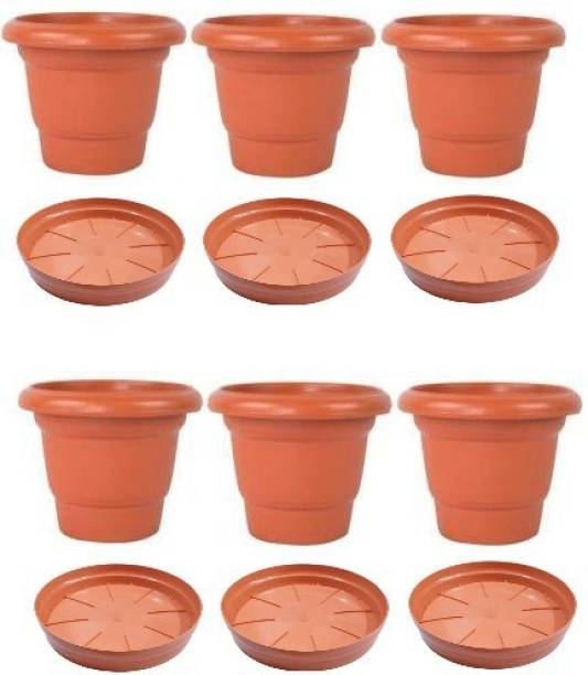 APNAA Agency Plastic Flower Plot/Container Set of 6 Pc with Base Tray Plastic Flower Basket