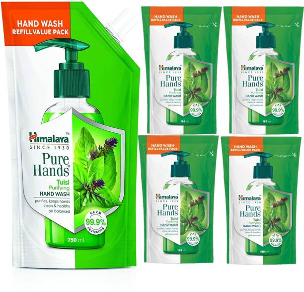 HIMALAYA Pure Hands Purifying Tulsi Hand Wash 750ml+ 4N 185ml Rifill Pack Hand Wash Pouch
