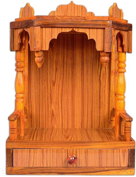 Remino Beautiful Plywood Mandir for Pooja Room Home Decoration Wall Mounten Engineered Wood Home Temple