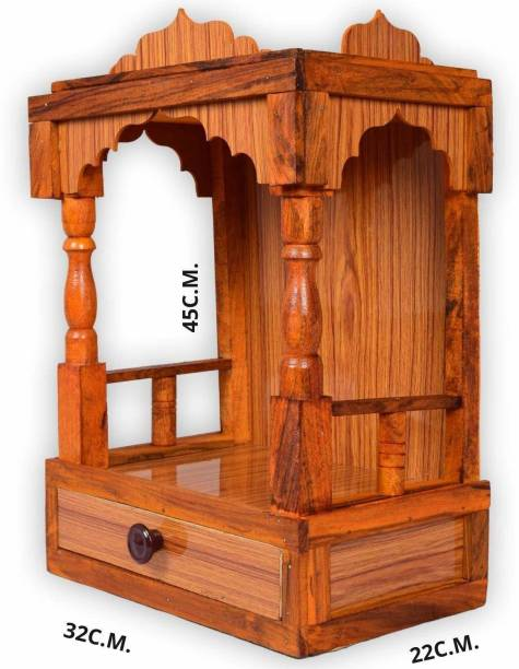 Skypure Mandir for Pooja Home Decoration Wall Hanging Beautiful Wooden Plywood Temple Engineered Wood Home Temple