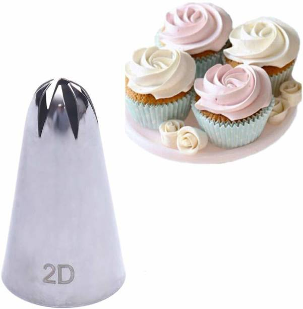 BAKEFY 2D 2D Large Size Rose Flower Cake Decorating Icing Tip Cupcake Nozzles Decoration Stainless Steel Petal Icing Nozzle