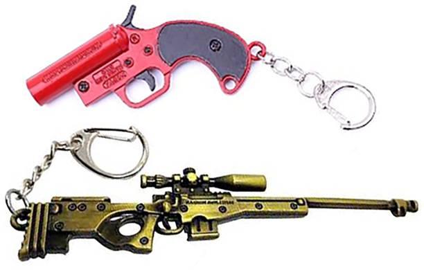 eweft Gun Level 3 key ring with Flair gun Key chain, Battle Ground Player Unknown Key chain, gun keychain Key Chain
