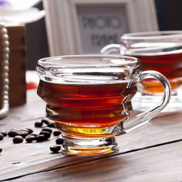 JINELZA Pack of 6 Glass Spiral Glass Honey Tea and Coffee Cup Set, Crystal Clear ice Tea Cup, 190ml